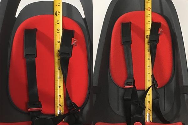 shoulder strap comparison in child bike seat